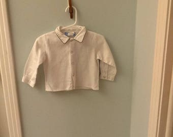 12 Month White Long Sleeved Shirt with Olive Green Trim