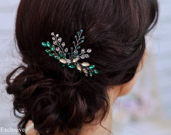 Bridal comb Wedding hair comb Green headpiece Crystal hair clip Bridesmaid hair comb Bridal hair pin Wedding comb Bridal hair comb Crystal