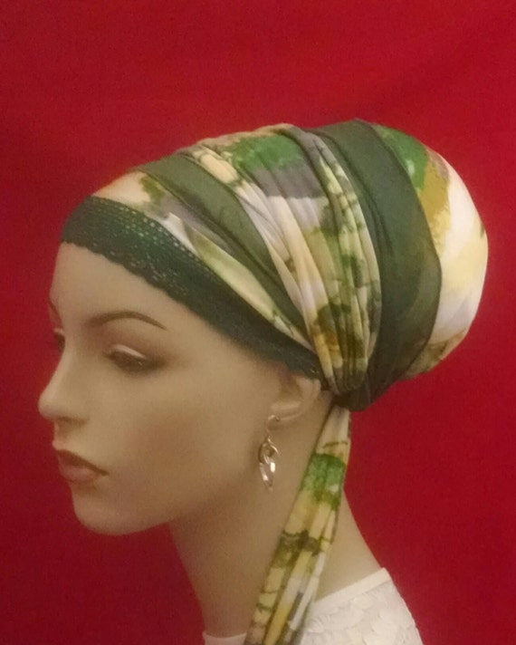 Fabulous green mesh sinar tichel, tichels, head scarves, hair snoods, chemo scarves