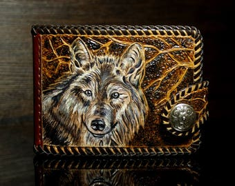 Hand-tooled leather wallet,  leather men's wallet, hand-carved wallet, Wolf wallet, tooled wallet, carved wallet, custom wallet, mens gift