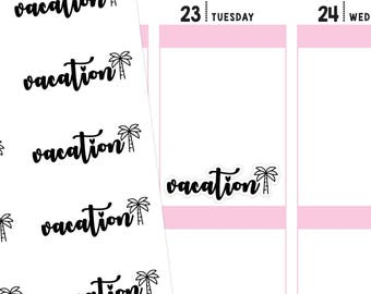 Vacation Planner Stickers, Vacation Stickers, Travel Stickers, Typography Stickers, Font Stickers, Script Stickers