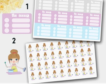 Cooking Stickers, Cooking Planner Stickers, Cooking Vivien Girl Stickers,  Meal Stickers, Meal Planner Stickers, Food Stickers, Food Planner