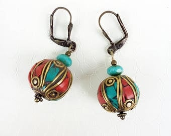 Earrings 'Widad' - Traditional Berber beads, red and turquoise enamels, bronze outlines - Ethnic earrings, boho, moroccan, handmade