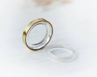 SALE! Two Camera Lens Experiment Rings/Pendants, brass, carved plexiglass, concave- convex lens, memorial for a photographer, camera lens,