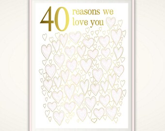 40th Wedding Anniversary Gift - 40th Anniversary Gift For Parents, Mum and Dad, Prints, Sign, Poster, 40th Birthday Print, 40, DOWNLOAD DIY