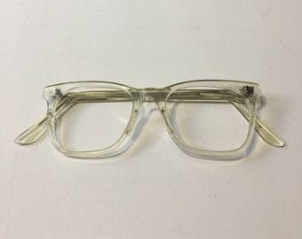 vintage nos 60s crystal clear wayfarer eyeglass frames geek chic sunglasses clear mod glasses - Etsy Frames