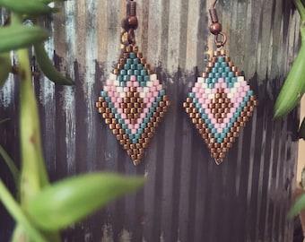 Beadwoven Earrings - Diamond Shaped Beaded Earrings