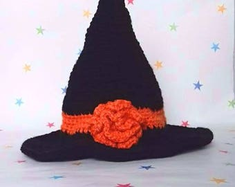 Baby Witch Hat, Crochet Hat, Fancy Dress, Cute Witch, Halloween Costume, Black Witch hat, Wizard Hat, Photo Prop, Pointed Witch Hat, Cosplay