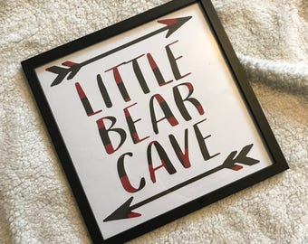 Framed 12x12 Cutout Little Bear Cave Sign, Cave Sign,Baby Boy Sign, Nursery Decor, Buffalo Plaid, Baby Boy Nursery, Boys Room Decor, Rustic