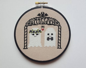 Ghost Couple cross stitch - pattern only