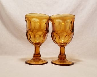 AMBER ASHBURTON GOBLET Stemware Water Glasses Brown Footed Tumbler 1980's Gold set of 2 Vintage Retro
