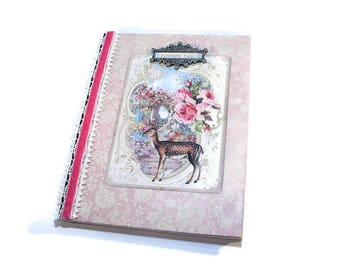 Personal Journal, Lined, Cottage Chic, Shabby Vintage, Deer, Writing Journal, Personal Diary, Travel, Dream, Meditation, Diet, Exercise