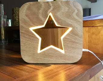 Lamp Led night light with switch painted wood star pattern