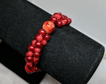 Fire Red Pearl Bracelet