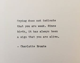 Charlotte Bronte quote hand typed on antique typewriter scrapbooking