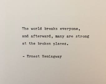 Ernest Hemingway quote hand typed on antique typewriter scrapbooking scrapbooking