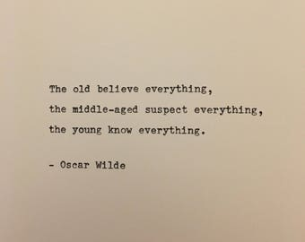 Oscar Wilde quote hand typed on antique typewriter