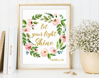Bible verse art print, Scripture print, Christian art print, Inspirational quote, Let your light shine Matthew 5:16 16x20 11x14 8x10 5x7 4x6