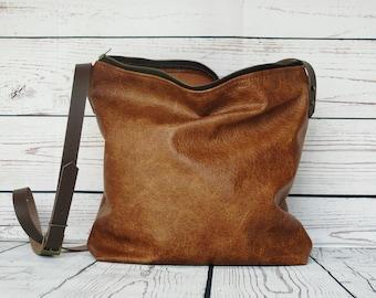 Caramel leather crossbody bag, distressed leather hobo, leather purse, leather handbag, leather shoulder bag