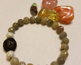Labradorite and lava stone essential oil diffusing bracelet