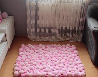 Bathroom Rug, Pom Pom Rug, Pompom Rug, Bohemian Rug, Bedroom Rug, Fluffy Rug, Living Room Rug, Soft Rug, Floor Rug, Handmade Rug, Washable