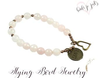 Rose Quartz Bracelet, Love Bracelet, Gift for Her, Valentine's Jewelry,