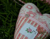 Patchwork Heart with Cross Stitch Motif and Fabric Padded Hanger SET, Patchwork, Cross Stitch, Flower Motif, Hanger, Ribbon, Buttons