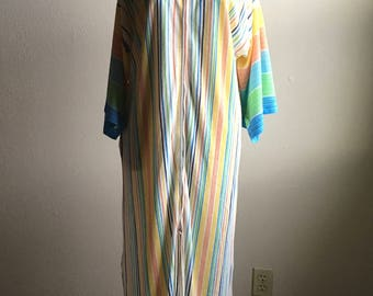 vintage montgomery ward multi color striped terry cloth bell sleeve zip up hooded robe