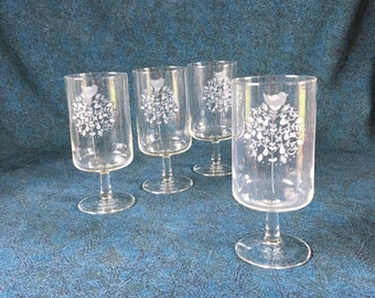 Vintage Etched Partridge in a Pear Tree Water Goblets, Set of 4, Christmas Glasses