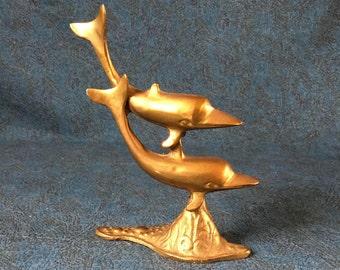 Vintage Brass Dolphin Figurine