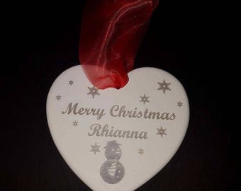 Personalised Bauble - Christmas Bauble - Christmas Decorations - Bauble - Merry Christmas - Tree Decoration - Christmas Gift - Heart - Xmas