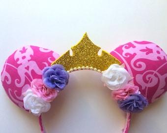 Aurora Sleeping Beauty Princess Crown Floral Ears