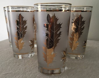 Libbey Golden Foliage Drinking Glasses, Vintage Libbey Drinking Glasses, Mid-Century Libbey