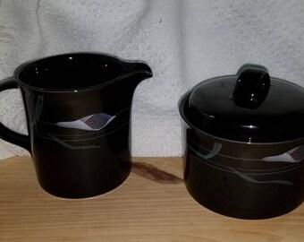 Vintage MIKASA Galleria Black Sugar Bowl Creamer NEW In the Box/Calla Lilies/Mikasa China Creamer Sugar Bowl With Lid/Mikasa Galleria China