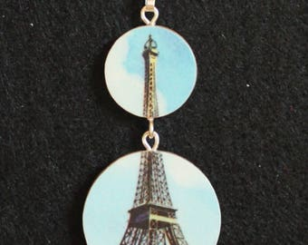 Eiffel Tower Paris Recycled Encyclopedia Handmade Double Pendant Necklace