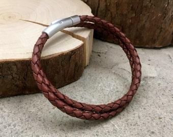 Beaded Leather Bracelet Multicolored Beaded Bracelet Mans