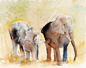 Original painting of elephants in the savanna - original watercolor of the elephant family  wild animal painting-bedroom or playroom decor