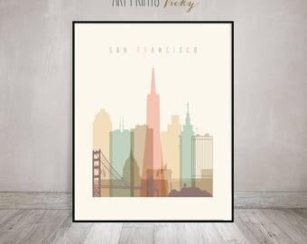 San Francisco Print Pastel Vertical Skyline Poster | ArtPrintsVicky.com