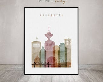 Vancouver print, Poster, Wall art, Vancouver skyline, Canada cityscape, City poster, Watercolour poster, Home Decor, ArtPrintsVicky