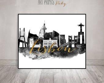 Lisbon black and white print, poster, Lisbon skyline, Wall art, Portugal art, faux gold text, travel, city print, Home Decor, ArtPrintsVicky
