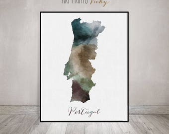 Portugal watercolor map, Portugal travel map, Wall art, Portugal map poster, Portugal watercolor print, Fine art prints, ArtPrintsVicky.