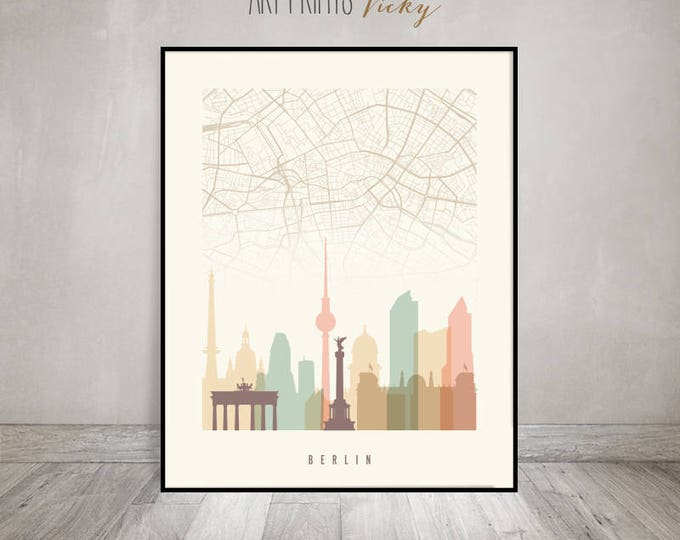 Berlin map, Berlin skyline art, Berlin poster, Berlin art print by ArtPrintsVicky