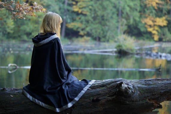 Linen Viking Cloak Cape Hooded Garb Norse, SCA, LARP, HEMA, Medieval, Fantasy Black Metallic Gold Silver Blue Trim Jacquard Knotwork Celtic