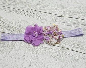 Baby Headband, Purple Headband, Shabby Chic Headband, Newborn Photo Prop, Baby Photo, Purple Flower Headband, Newborn Gift, Baby Shower Gift