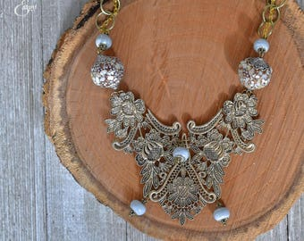 "Blue ""Shattered Glass"" Necklace 
