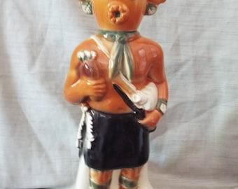 Ezra Brooks Southwest Indian Kachina Decanter Mud Head - Hand Painted Porcelain - Lovely decorator piece