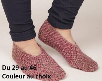 Chaussons femme homme enfant laine tricotés main, pantoufles, chaussures intérieur, cadeau anniversaire, fête des mères fête des pères, Noël