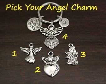 Angel Keyring Keychain-Angel Charm - Guardian Angel Keychain-Lost Father-Lost Grandfather-Lost Loved One Keychain-I/B/H