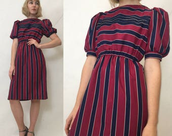 Vtg 1980s DRESS Puff Sleeve Secretary Day Dress Striped Red and Blue Fitted Waist Below the Knee Adorable Poly Work Dress Size Small 4