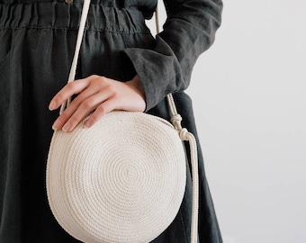 Elegant Parisian Style Natural Rope Cotton Handbag, Summer Vegan Bag, Crossbody Natural Cotton Bag, Shoulder Bag